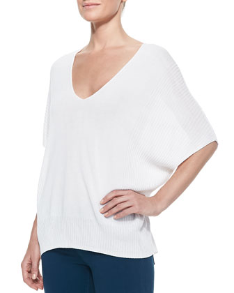 Batwing-Sleeve Double-V Popover Sweater, Optic White