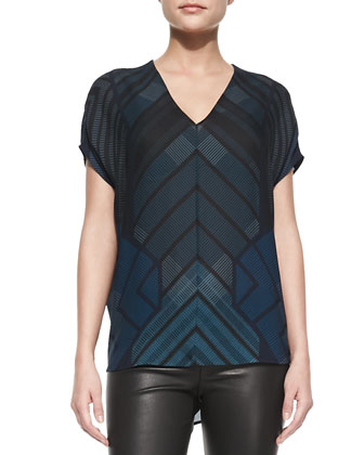 Short-Sleeve Chevron-Print Shell & Cropped Leather Leggings