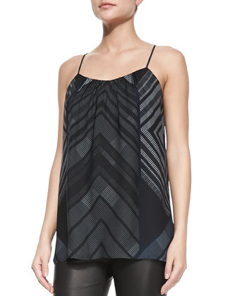 Spaghetti Strap Chevron-Print Camisole & Cropped Leather Leggings