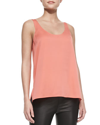 Scoop-Neck Silk Tank, Melon