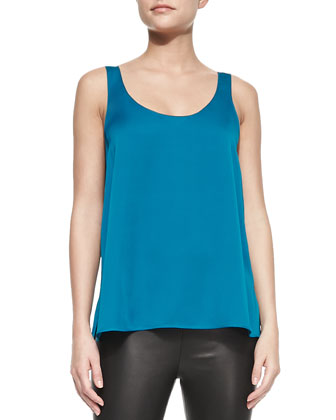 Scoop-Neck Silk Tank, Peacock Blue