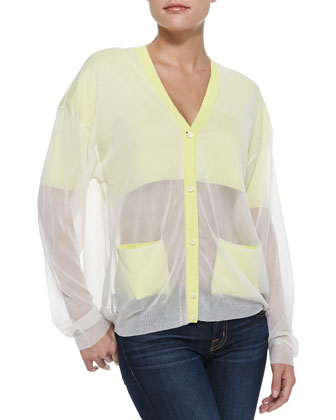 Chiffon Button-Front Cardigan, Citrine