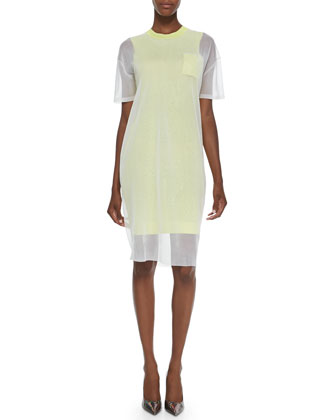 Illusion Short-Sleeve Dress, Citrine