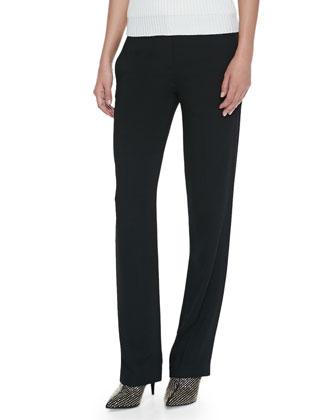 Straight-Leg Trouser Pants, Black