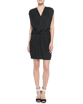 Gauzy Draped Silk Dress, Onyx