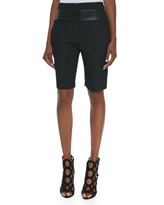 Leather-Waist Bermuda Shorts, Onyx