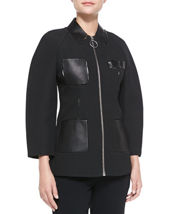 Textured Zip Jacket, Onyx
