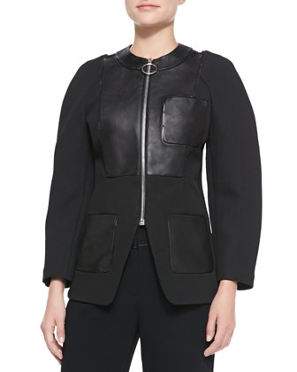 Zip-Up Blazer with Leather Detail, Onyx