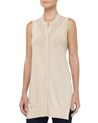 Sleeveless Cardigan Tank Top, Mojave