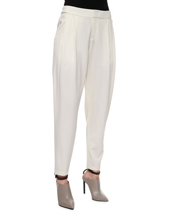 Cashmere Pointelle-Trim Sweater, Silk Button-Up Top & Baggy Cropped Trousers