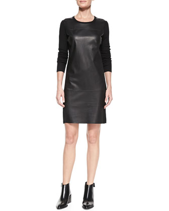 Leather-Paneled Long-Sleeve Wool Dress
