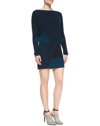 Long-Sleeve Abstract Jacquard Tunic