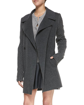 Sweater-Sleeve Felt Coat, Heather Gray