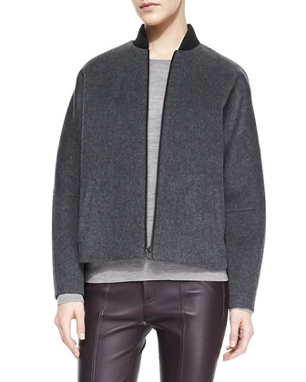 Knit-Trim Fleece Bomber Jacket