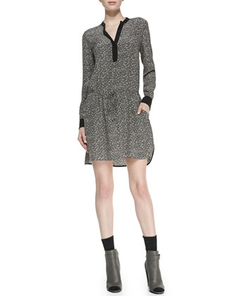 Solid-Trim Printed Silk Shirtdress