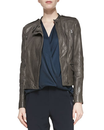 Leather Moto Jacket with Quilted Band Sleeves