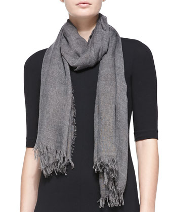 Silk Fringed Scarf, Med. Heather Gray