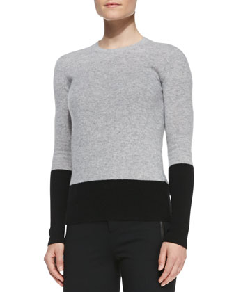Colorblock Crewneck Cashmere Top, Steel/Black
