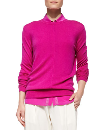 Cashmere Pointelle-Trim Sweater
