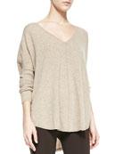 Front Seam V-Neckline Cashmere Sweater