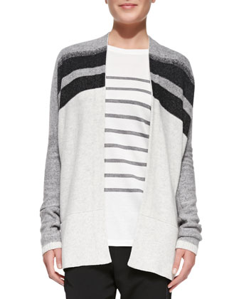 Knit Variegated Oversized Cardigan, Jersey Striped Long-Sleeve Top & ...