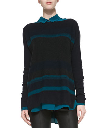 Boat-Neck Striped Knit Sweater