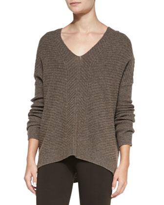 Chevron Double V-Neck Sweater