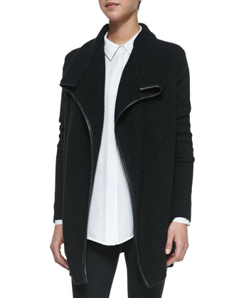 Ribbed Layout Drape Cardigan with Leather Trim, Classic Long-Sleeve Silk ...