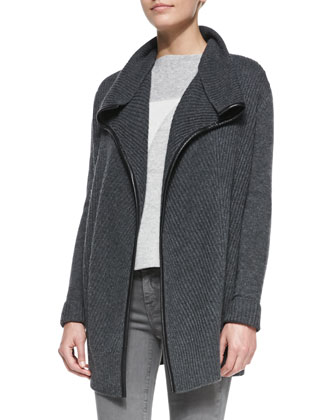 Ribbed Layout Drape Cardigan with Leather Trim, Heather Gray