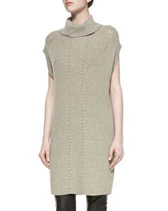 Ribbed Turtleneck Sweaterdress, Heather Almond