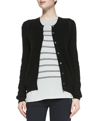Button-Down Petite-Chevron Cardigan, Heather Black