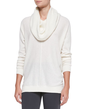 Seamed Cowl-Neck Sweater, Winter White