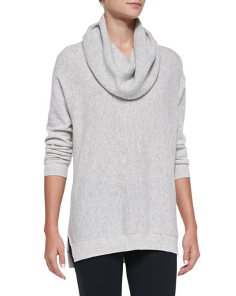 Seamed Cowl-Neck Sweater, Heather Snow