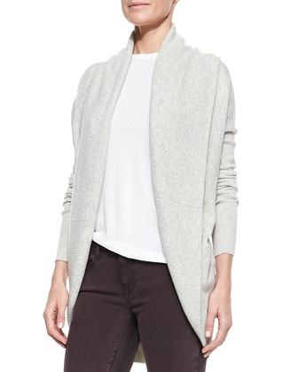 Elliptical Circle Cardigan, Basic Tee & Side-Stripe Skinny Jeans