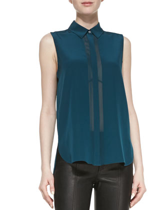 Sheer-Stripe Sleeveless Silk Blouse, Twilight