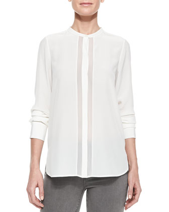 Sheer & Charmeuse Long-Sleeve Blouse, Off White