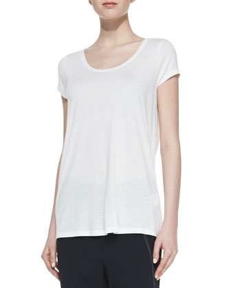 Short-Sleeve Top with Satin-Trimmed Neckline, White