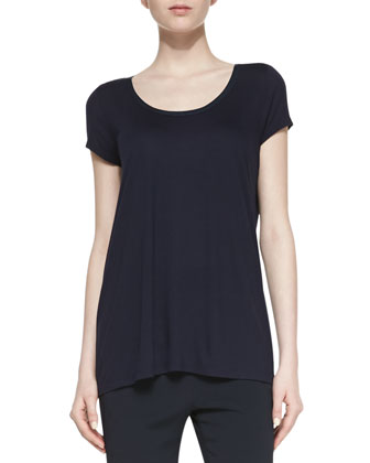 Short-Sleeve Top with Satin-Trimmed Neckline, Coastal