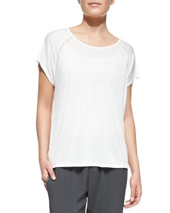 Jersey Mesh-Inset Raglan-Sleeve Top