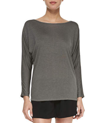 Long-Sleeve Mesh Top, Slate