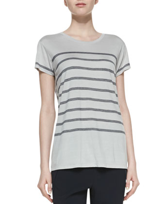 Short-Sleeve Striped Jersey Tee & Satin-Piped Wrapped Seam Pants