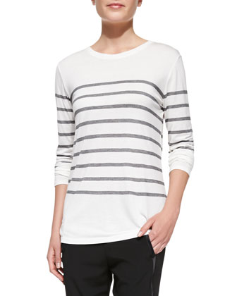 Jersey Striped Long-Sleeve Top
