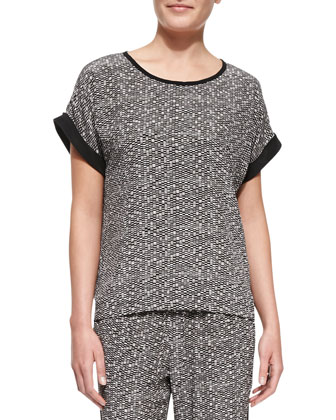 Pathways Cuff-Sleeve Printed Silk Top