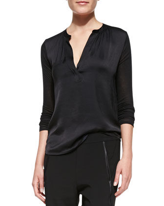 Satin-Front Loose Jersey Top, Black