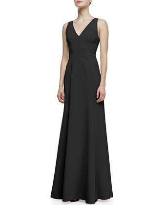 Vertebrae B Woven-Panel Sleeveless Gown, Black