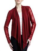 Drape-Front Leather Jacket