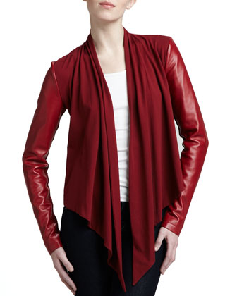 Drape-Front Leather Jacket