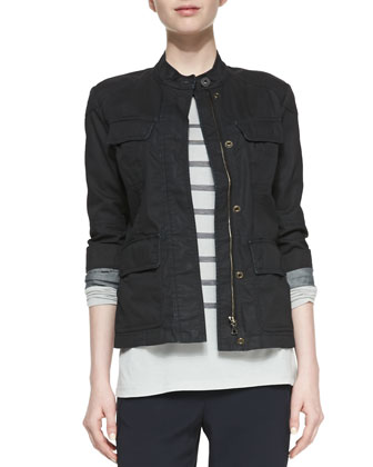 Zip Cotton Cargo Jacket, Long-Sleeve Striped Top & Satin-Piped Wrapped Seam ...