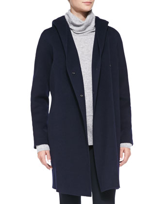 Hooded Button-Down Coat, Mixed-Weight Cashmere Turtleneck & Knit ...