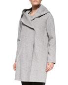 Wool-Blend Hooded Coat
